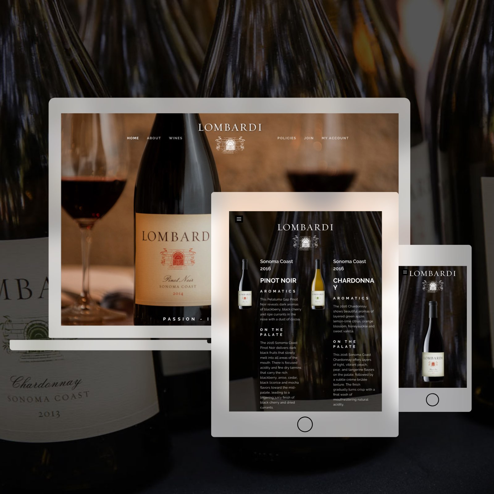 Teaser Of The Lombardi Wines Websites